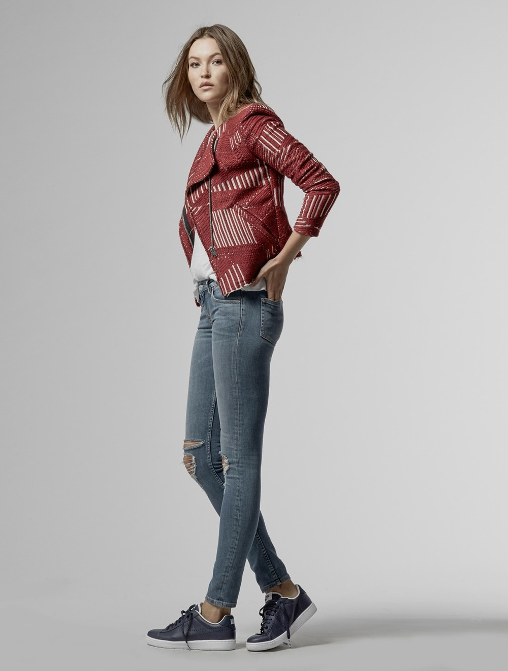 IRO jacket paired with skinny jeans