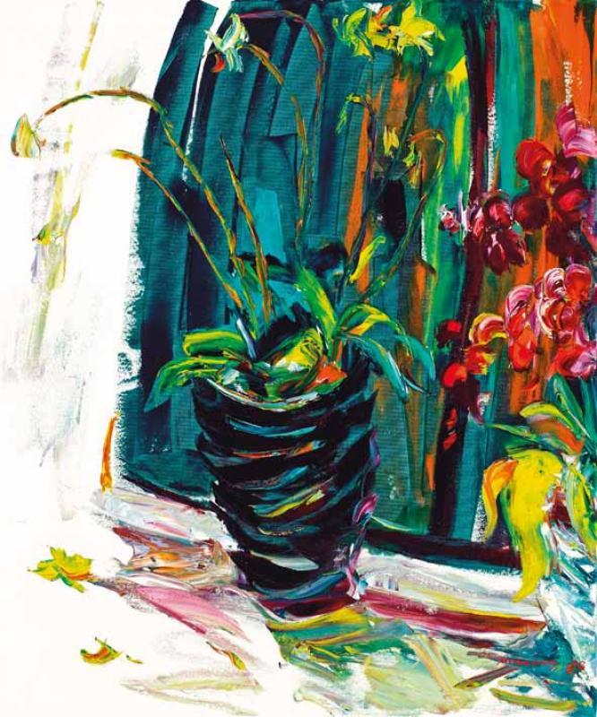 有綠色瓶子的蘭花 Orchids with a Green Vase