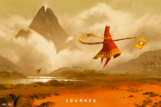 This is a print of another one of my all time favorite games, Journey, by Tomislav Jagnjic. It was done by D&L Screenprinting for Mondo Tees in a run of 275. I got this in 2018.