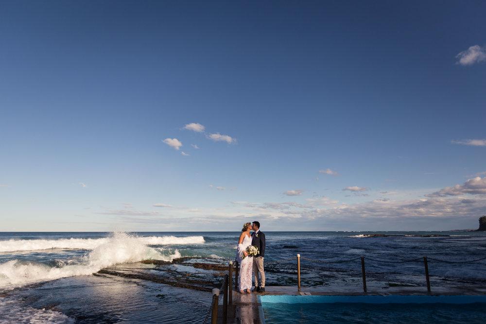 Bilgola Beach Wedding. Bride and Groom Photo On A Pool.