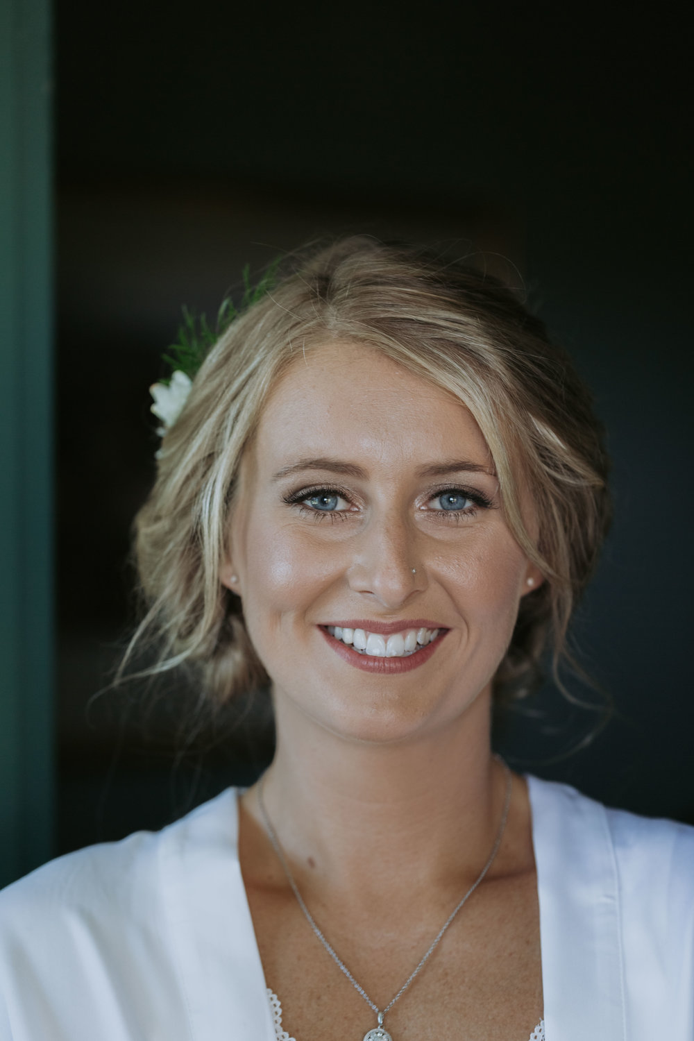 Bride smiling photo. Natural, relaxed wedding photography Kiama