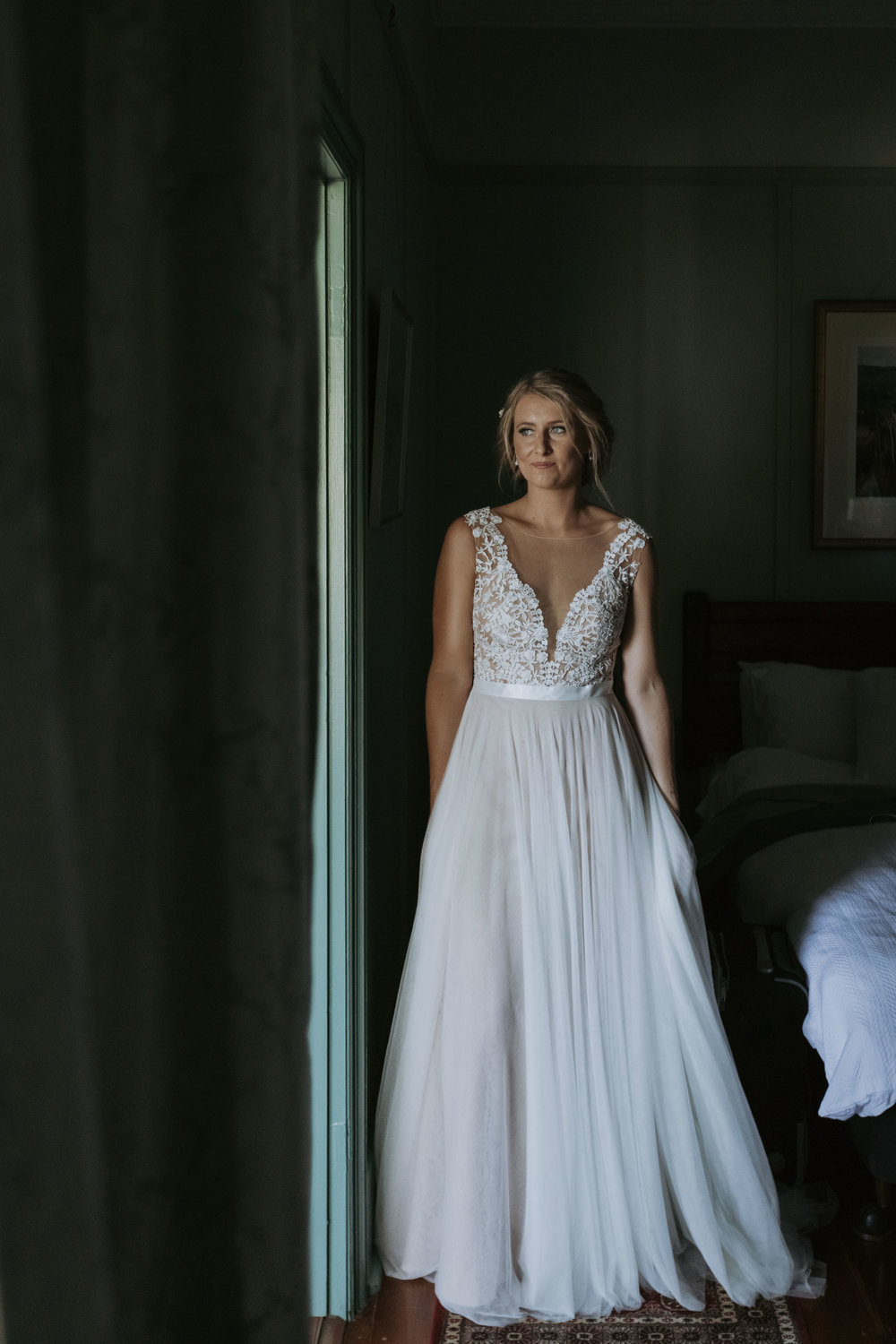 Full length photo of bride in dress. Natural, relaxed wedding photography Kiama