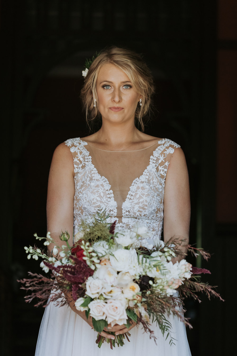 Beautiful bride with her bouquet photo. Natural south coast wedding photography