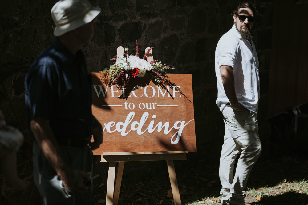 Welcome to wedding sign. Sotuh coast wedding at Bush Bank Kiama