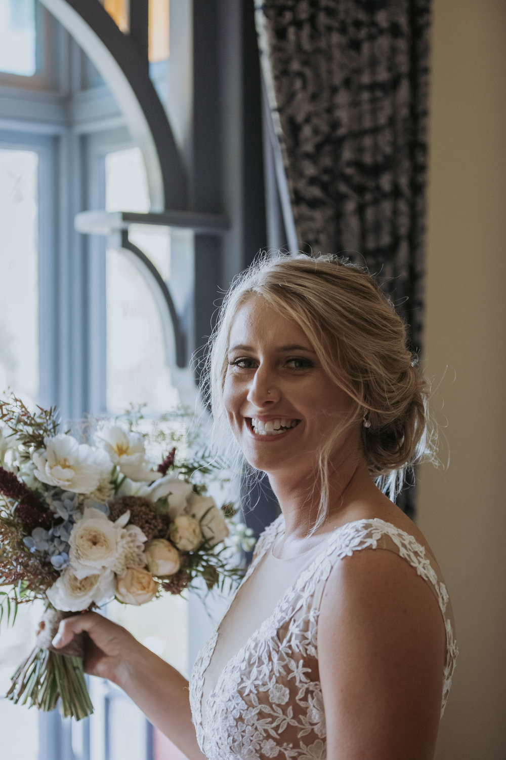 Smiling bride photo. Natural, relaxed wedding photography Kiama