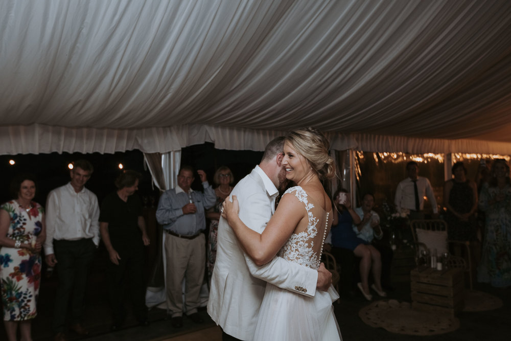 First dance wedding photo. Natural relaxed wedding photography. South coast wedding photographer.