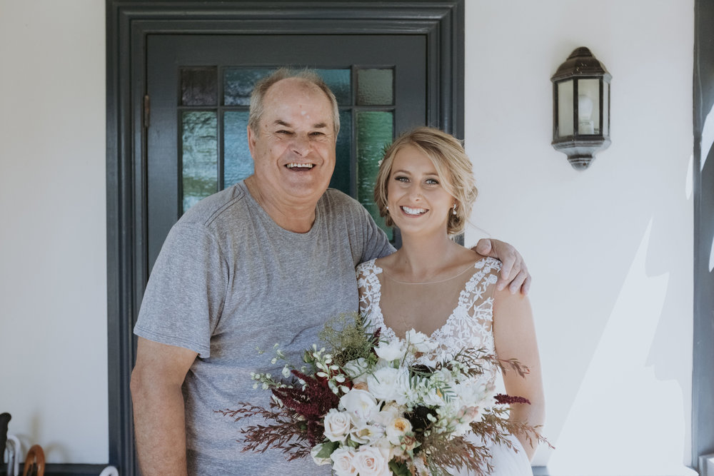 Father of the bride with daughter photo. Natural south coast wedding photography