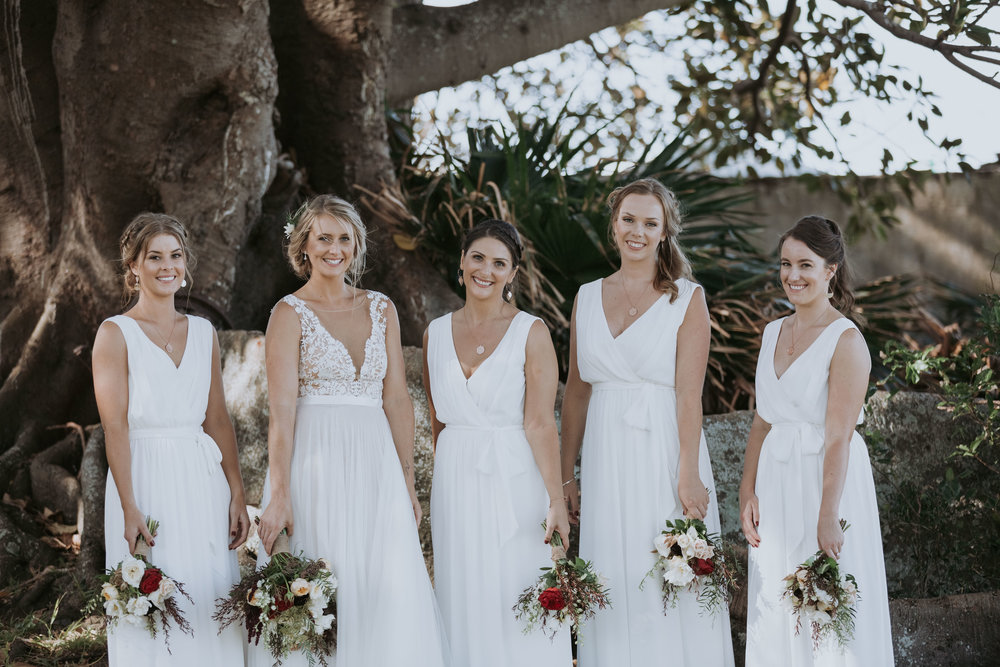 Bride and bridesmaids photo. South coast wedding photography.