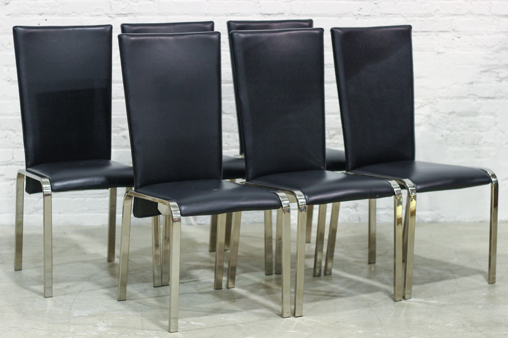 Chrome and Leather Chairs (8) / $800