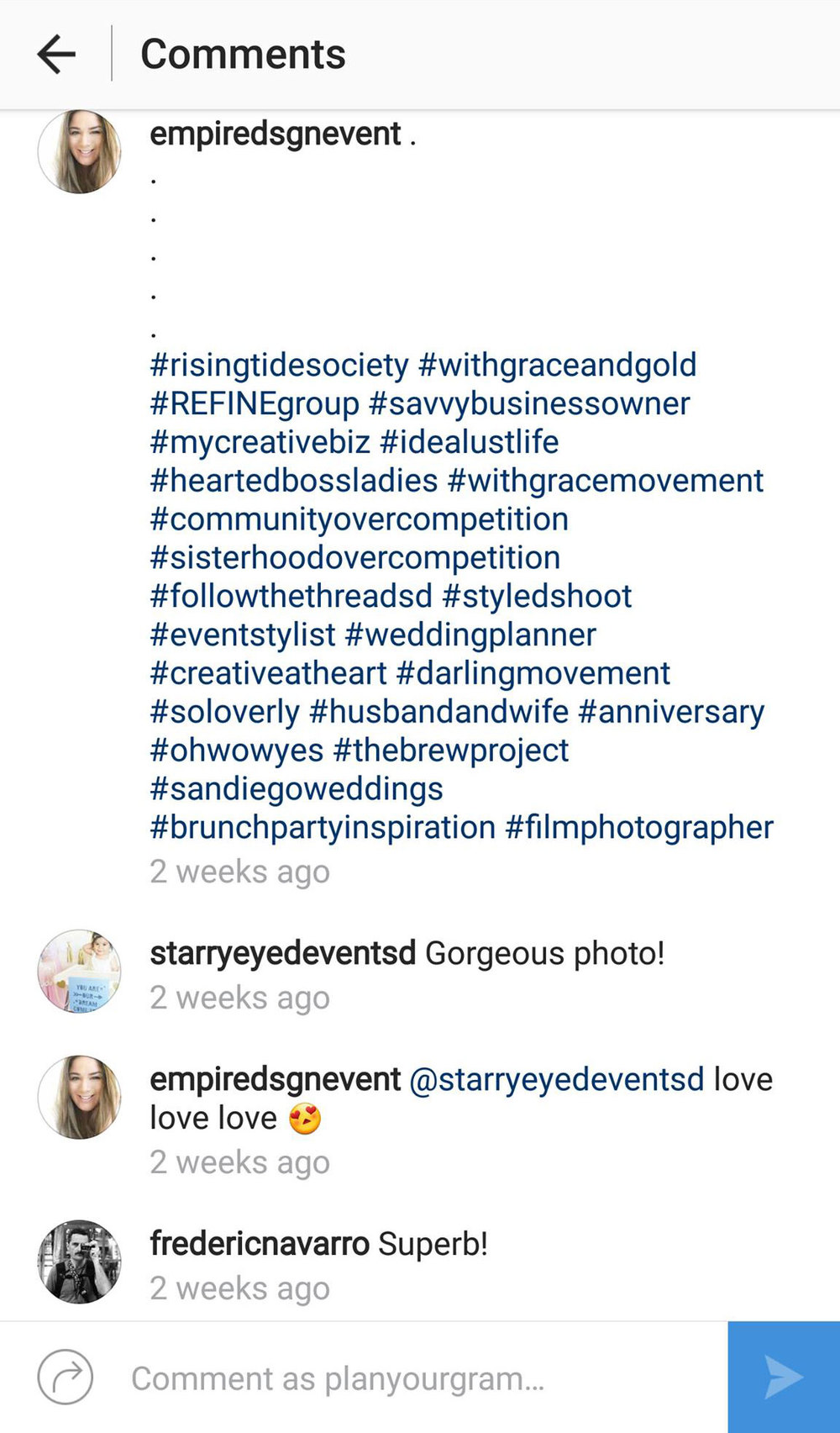 hashtags in first comment