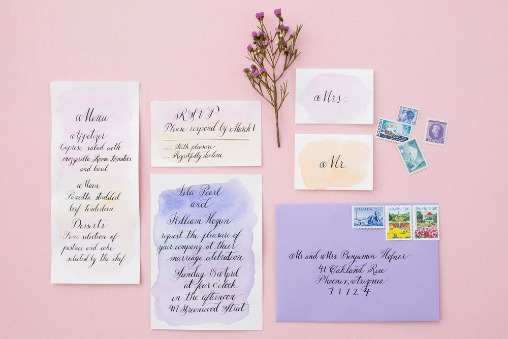 Calgary calligrapher wedding invitation watercolor 1