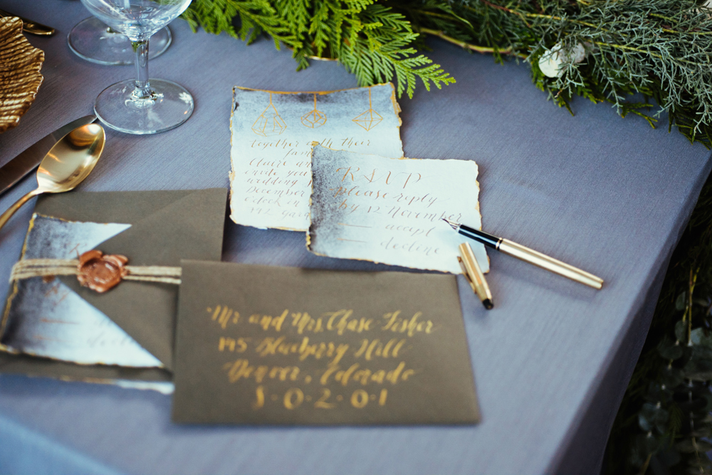 Calgary Calligrapher Boho Winter Wedding