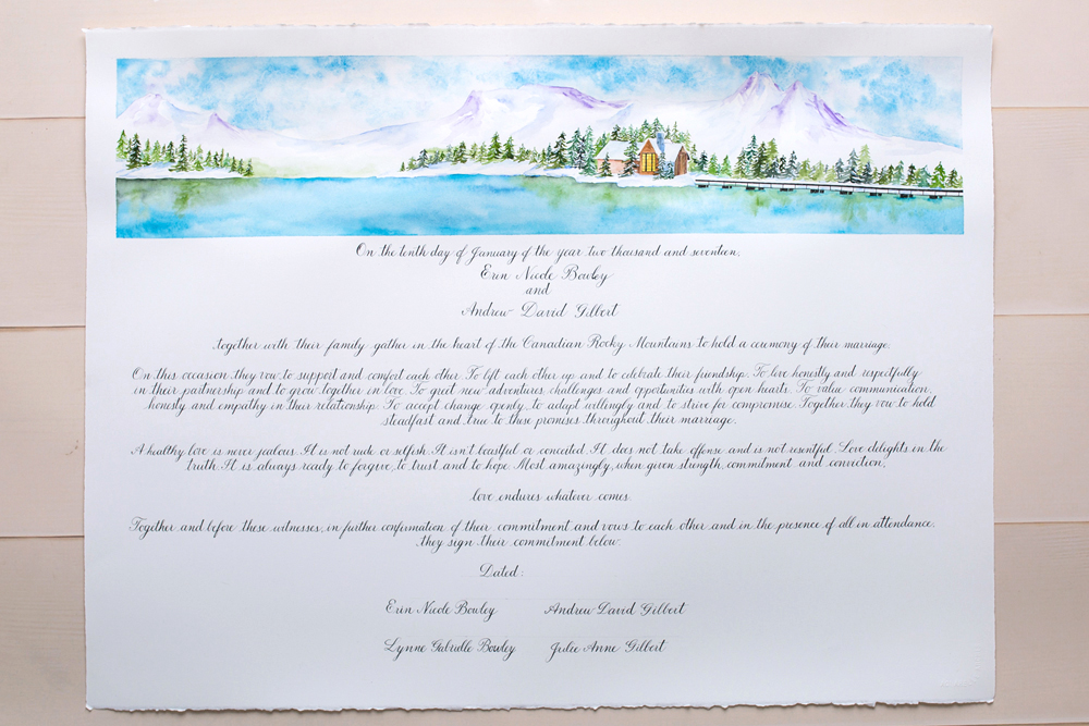 Calgary calligrapher wedding vows