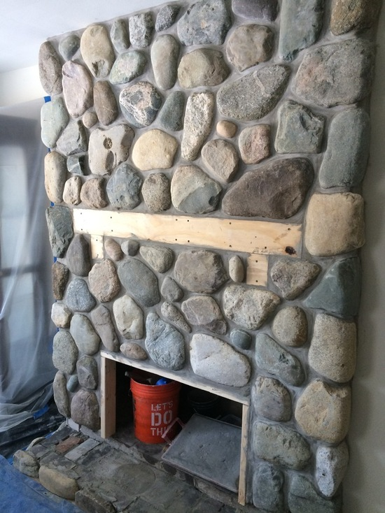 natural stone look fireplace