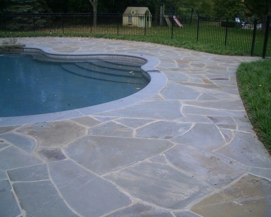 Pool in backyard with bluestone patio