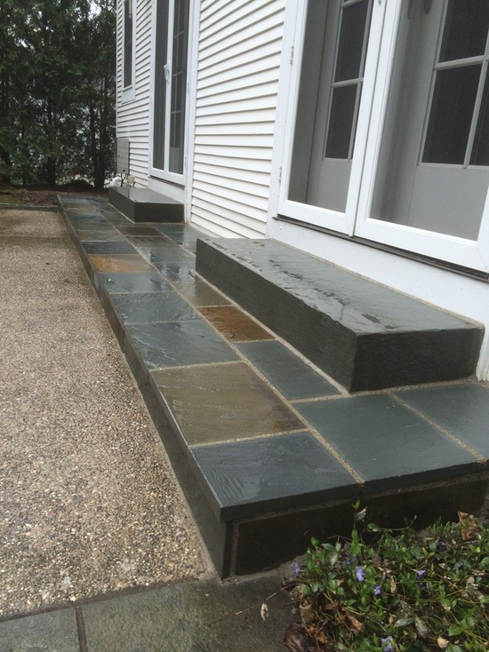 House sliding door with bluestone steps