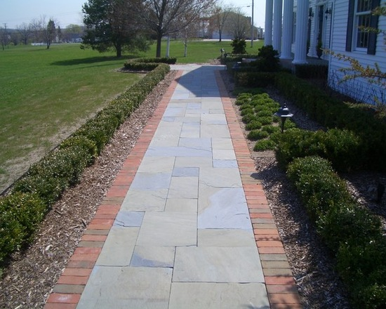 stone walkway lined with brick