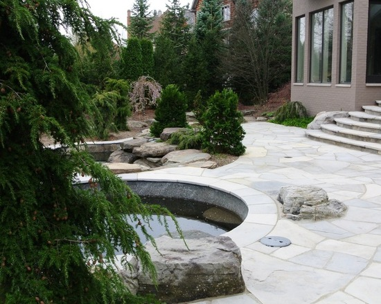 Circle pool in backyard with evergreen tree