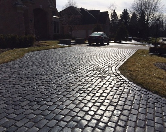 Shining brick driveway with a car