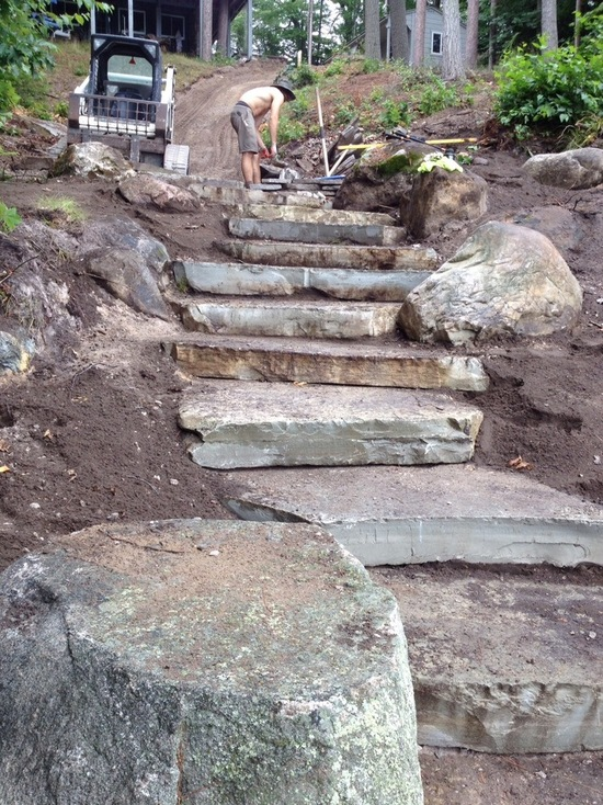 natural stone steps on a hillside
