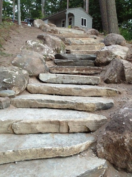 rustic stone slab steps