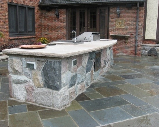 bluestone patio outdoor kitchen island
