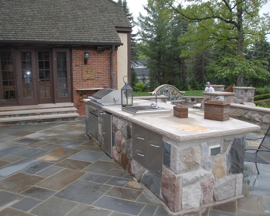 natural stone countertop in backyard