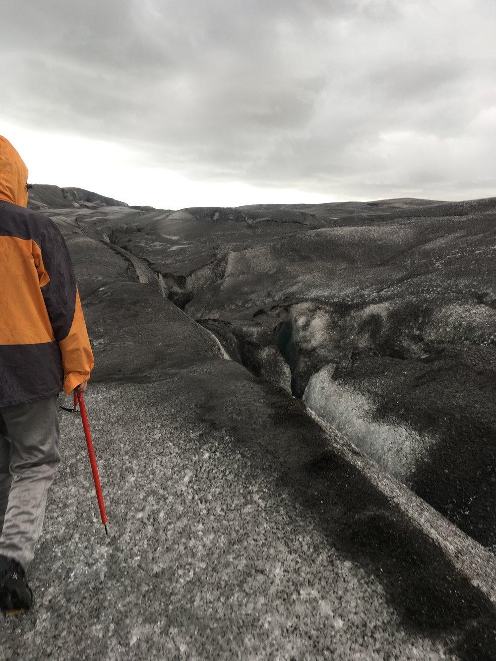 Trekking on Solheimajokull, a glacier near Vik, Iceland.