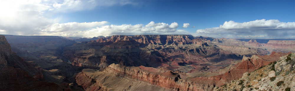 Panoramic view from Grand View overlook in Grand Canyon National Park, AZ.