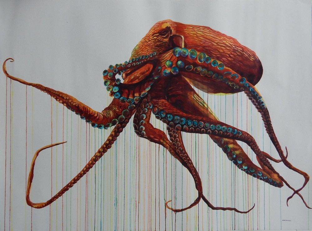 """Great Octopus""  36x48 Watercolor $2000"