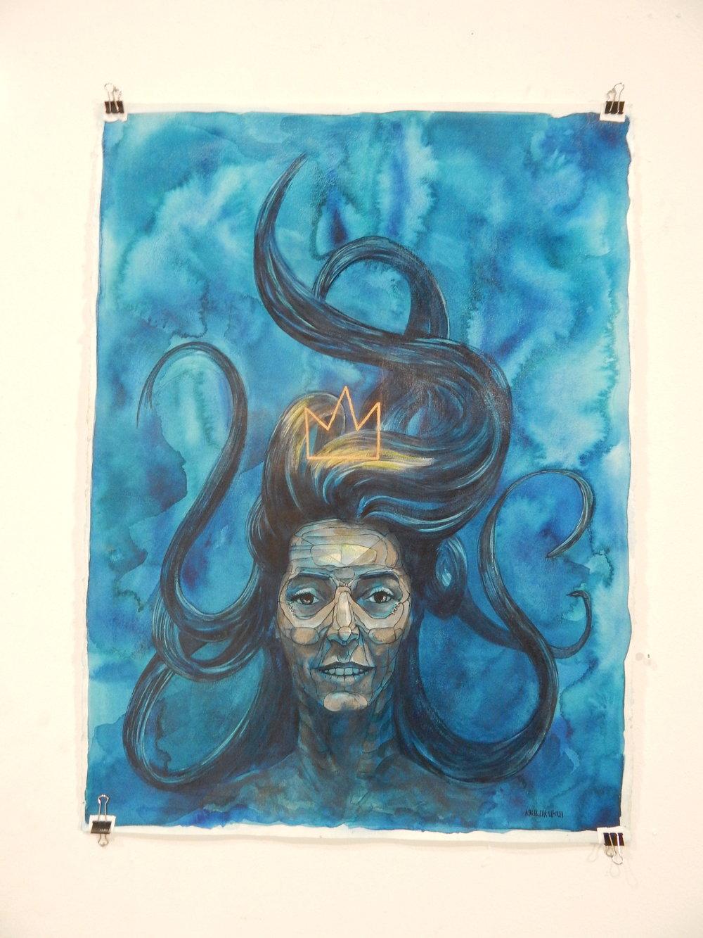 """""""Ara""""  30x22 Watercolor Mix media $500"""