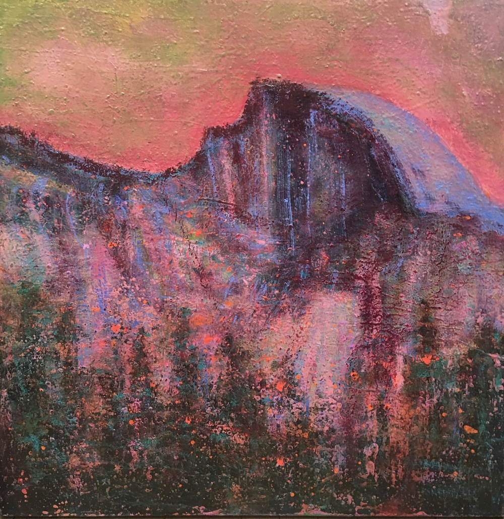 A study of Half Dome in a rosy palette