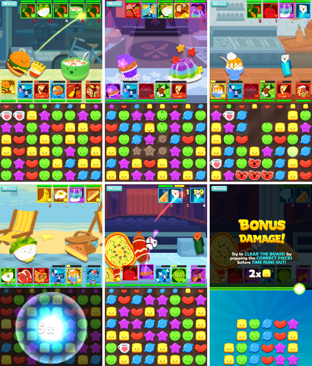 Puzzle Battle screens from   Cranky Food Friends   © SEGA