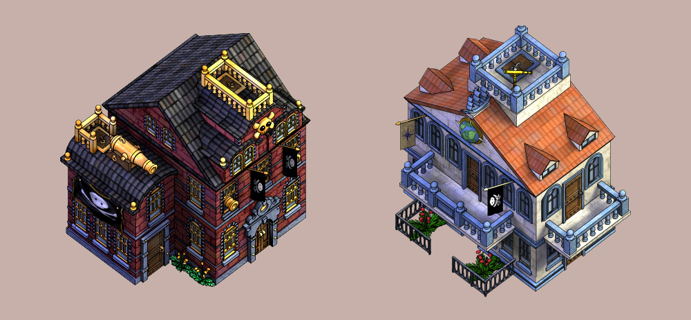 Buildings from Puzzle Pirates MMO. © SEGA