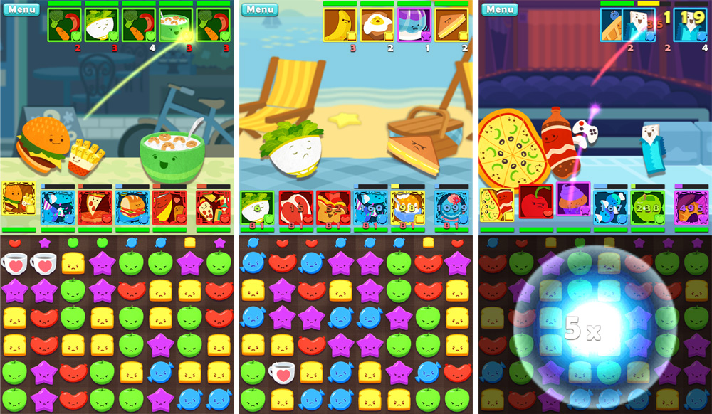 Puzzle battle screens from   Cranky Food Friends.  All art created by my art team and myself.    © SEGA    We needed hundreds of characters in a short amount of time and with a limited budget so I designed the style to accommodate the fact that artists would need to create multiple characters per day. I was able to keep the art team on schedule or ahead of schedule throughout development, providing frequent paint-overs and notes to keep up the quality and maintain a unified vision.