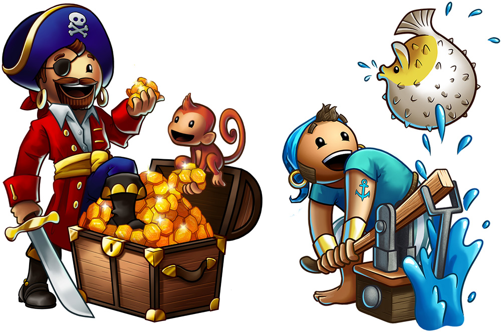 Puzzle Pirates    characters. PC MMO game. © SEGA