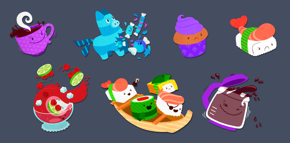 Cranky Food Friends characters. iOS/Android game. © SEGA