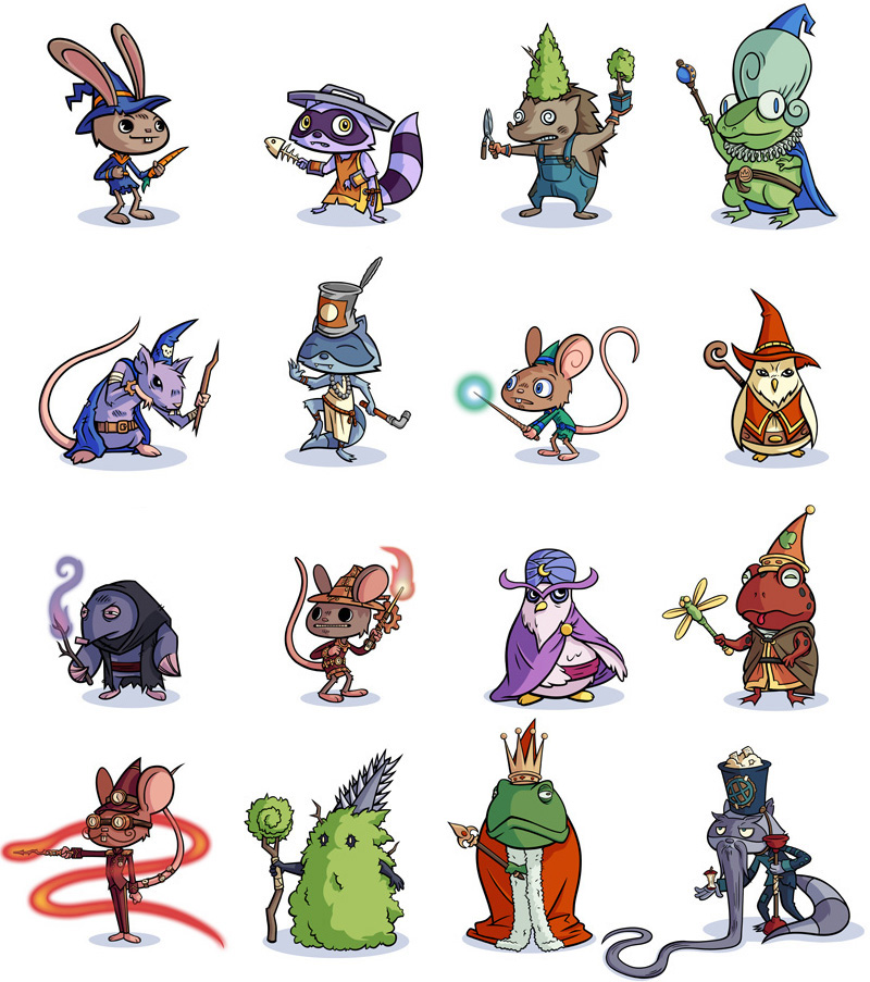 Some of the 99 wizards I created for Spellwood, a game I also art directed. iOS/Android game. © SEGA