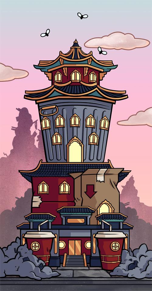 Spellwoodbuilding exteriors. Mobile game © SEGA
