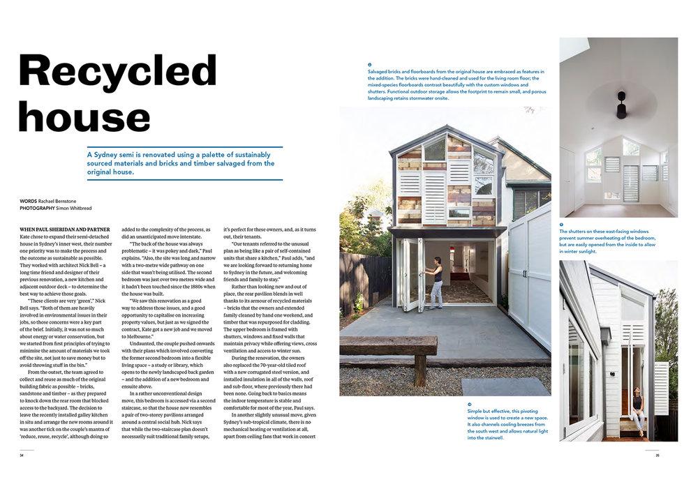 Recycled House In Sanctuary Magazine U2013 February 2017