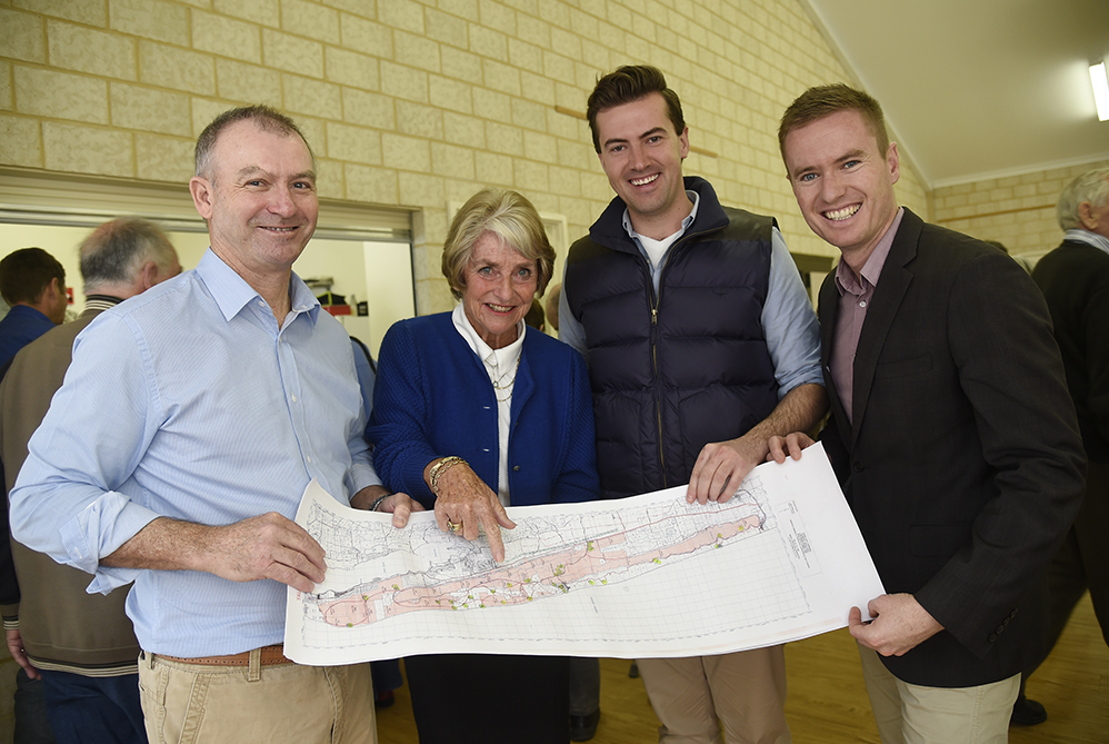 Dr Kim Hames MLA, FRAGYLE President Hilary Wheater, Zak Kirkup and Albert Jacob survey the Map of Yalgorup