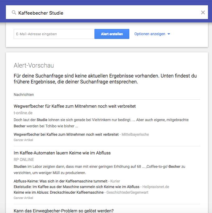 Google Alerts für die Pressearbeit – Vorschau