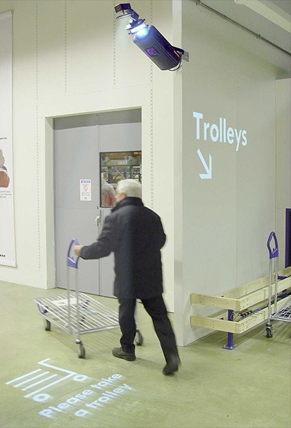 Projected trolley signs, ikea