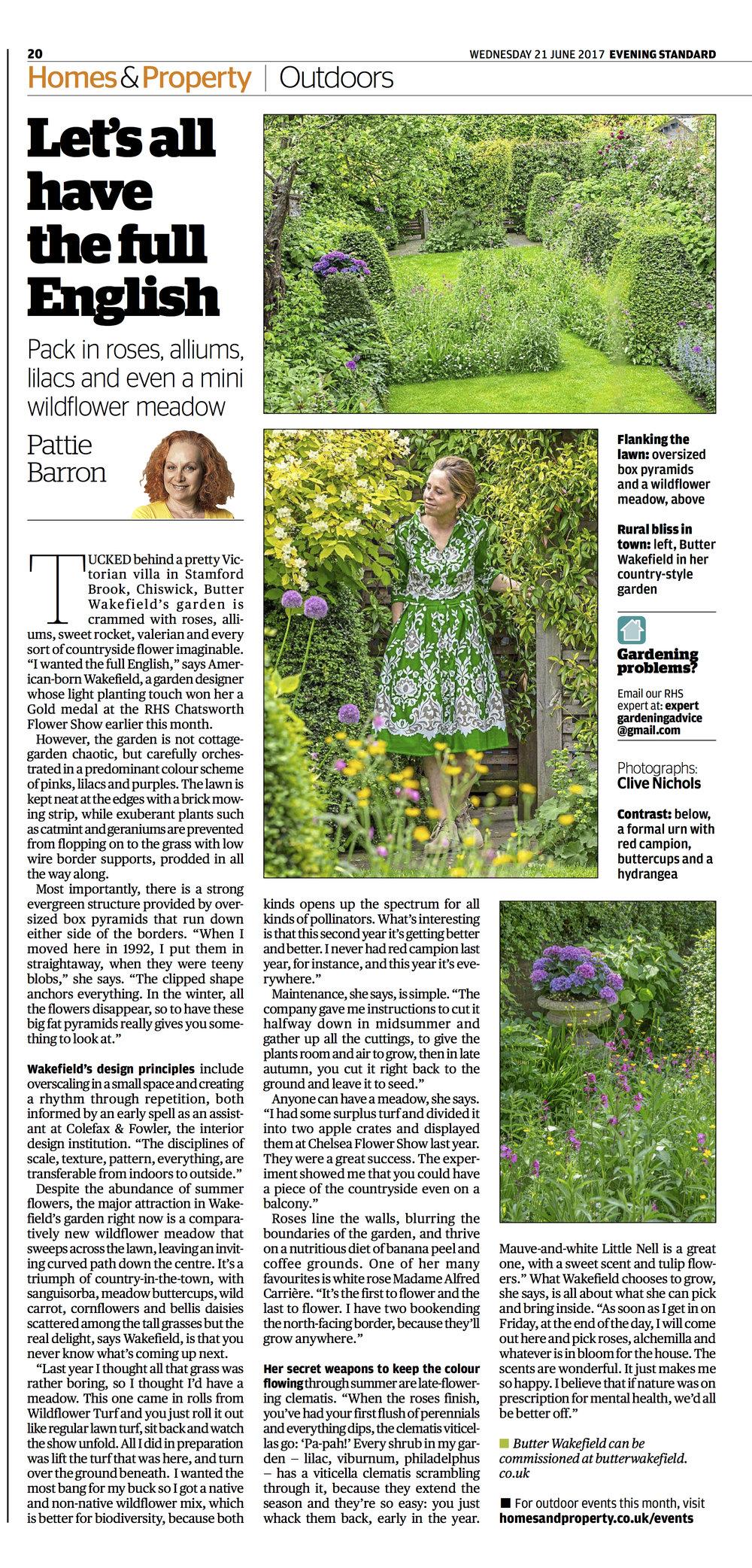 My garden's been featured in the Evening Standard magazine!
