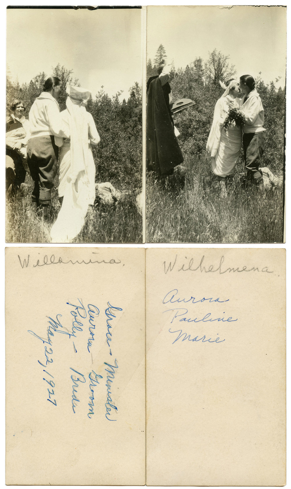 """""""Grace - Minister, Aurora - Groom, Polly - Bride."""" B&W silver prints. May 22, 1927, 4.25"""" x 5"""" (pair).  Found in Philadelphia, PA   Part of the challenge and delight of dealing with orphaned/found photos is the uncertainty that comes along with identification and interpretation. I spent time discussing these images in class several months ago with my peers. Some observations that have only produced more questions:  The tape does not appear to be terribly old, as it has not yellowed or cracked; Upon magnification, the minister, Grace, is seen holding an album of audio records; The spellings of Willamina and Wilhelmena: was this a simple spelling mistake? Perhaps the recipient or creator of the images?; Is this an instance of early gay marriage or is it a performance of some sort?; Does the distinction between Polly and Pauline correlate with that of Willamina/Wilhelmena in some way?; Was Marie a witness and/or friend?  These are all things that would have to be considered in attempting to ID the who, what, and where, of this photo. Assumptions should never be made, especially with photographs found in archives. More often than not, however, there is some kind of context that helps direct the viewers focus to certain aspects of the image. For now, the precise activities of Grace, Polly, Marie, and Aurora will remain unknown."""