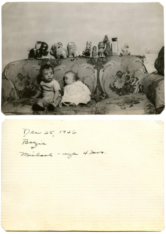 """""""Dec 25, 1946. Beezie & Michael - age 4 mos."""" B&W silver print, 1946, 3.5"""" x 5"""" Found in Brooklyn, NY"""
