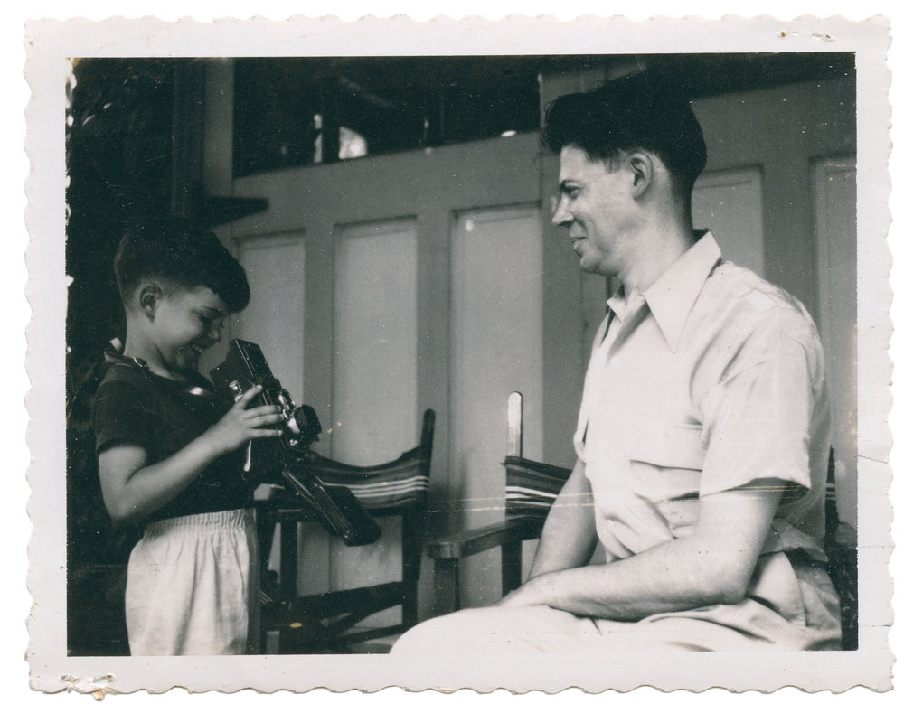 """Pictures of people making pictures. Polaroid, 1952, 3.25"""" x 4.25"""" Found in Brooklyn, NY"""