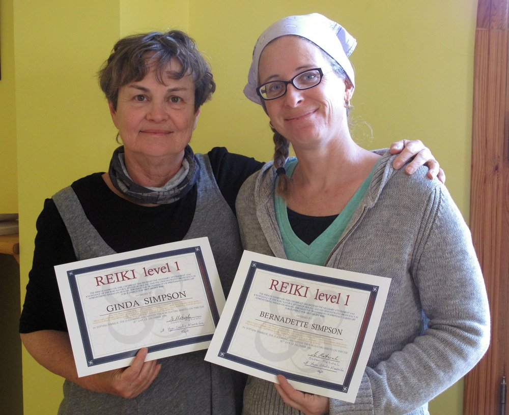 Mother and daughter Reiki Level 1 practitioners at Yoga Studio Nuweiba.