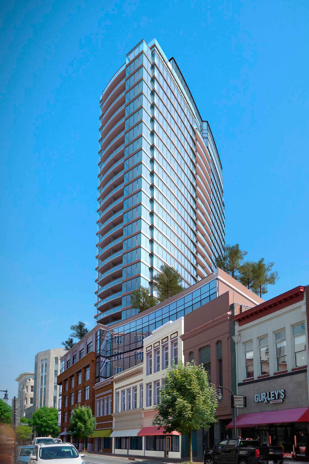 """Last week, Austin Lawrence Partners began initial site work on what will be the tallest building in Durham – a 27-story tower at the corner of Corcoran and Main streets that will be a mix of offices, retail shops, apartments and condominiums."""