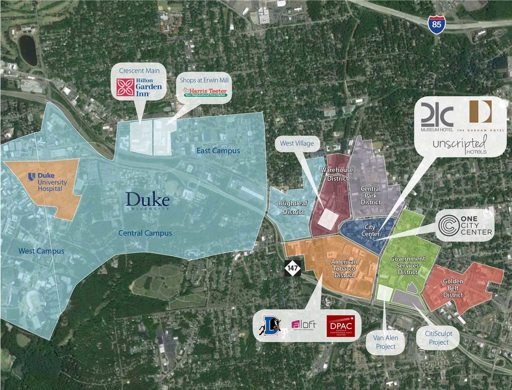 Durham Map ― Downtown Durham NC — ONE CITY CENTER on